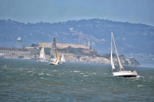 Closeup of Alcatraz, San Francisco Bay